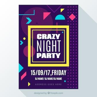 Poster da festa louca com formas geométricas