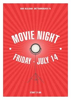 Pôster da noite de cinema com faixas vermelhas