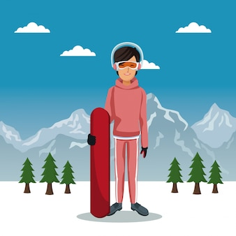 Poster da paisagem da montanha do inverno com mulher do skiere com equipamento e tabela do céu