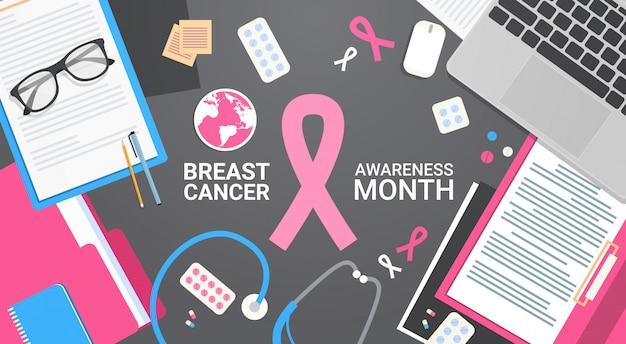 Poster da prevenção da doença da bandeira do mês da consciência do cancro da mama