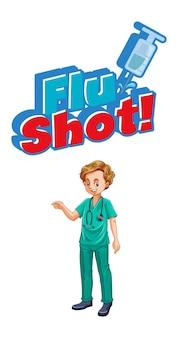 Pôster da vacina contra a gripe com um personagem de desenho animado médico em branco
