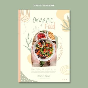 Pôster de alimentos orgânicos em design plano