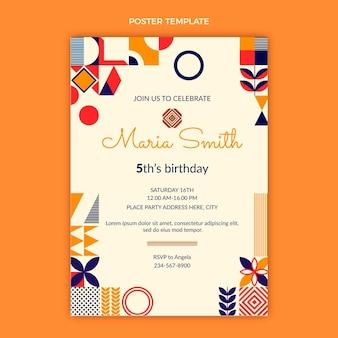 Pôster de aniversário em mosaico plano