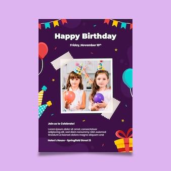 Pôster de aniversário festa infantil