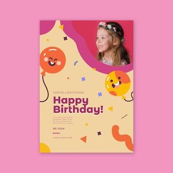 Pôster de aniversário infantil