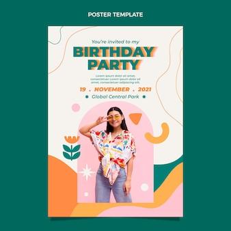 Pôster de aniversário mínimo com design flt