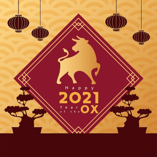 Pôster de ano novo chinês com boi dourado e bonsais