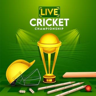 Pôster de campeonato de críquete ao vivo com bola vermelha realista, bastão, wickets, capacete e copa do troféu de ouro sobre fundo verde de vista do estádio.