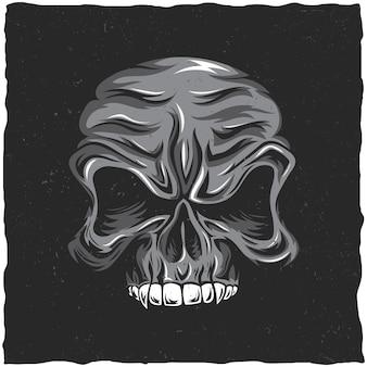 Pôster de caveira zangada com ilustração das cores branco e cinza