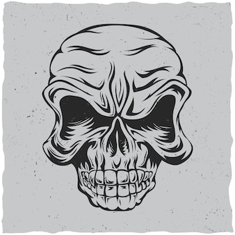 Pôster de caveira zangada com ilustração em preto e cinza
