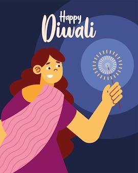 Pôster de celebração de diwali feliz