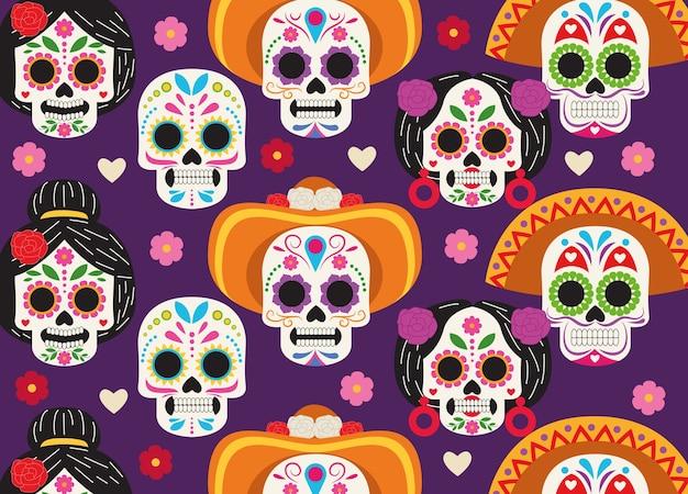 Pôster de celebração do dia de los muertos com caveiras cabeças grupo padrão ilustração vetorial