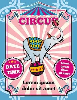 Pôster de circo com elefante na bola