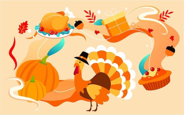 Pôster de comida deliciosa ilustração de comida de ação de graças jantar peru