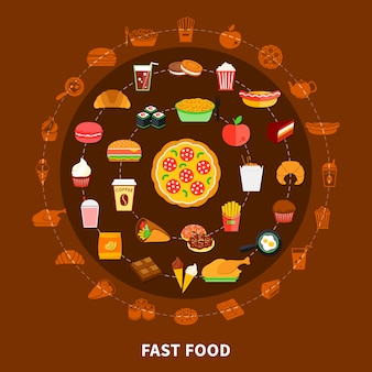 Poster de composição de círculo de menu de fast-food