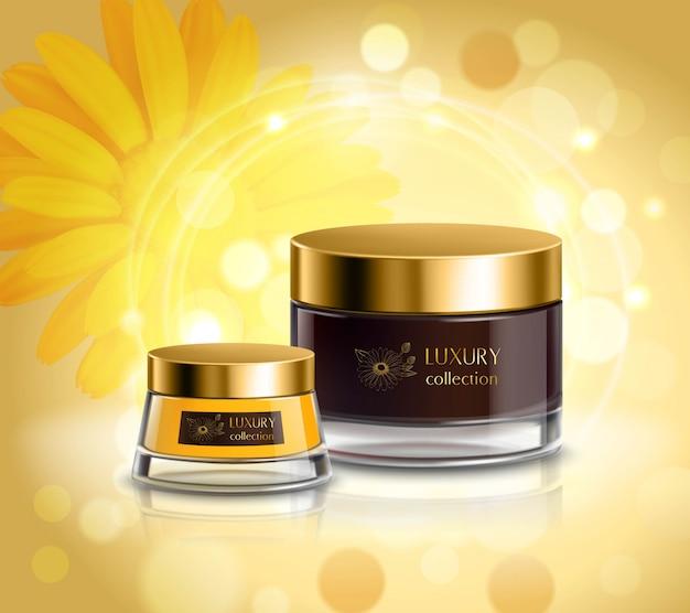 Poster de composição realista de produtos de cosméticos