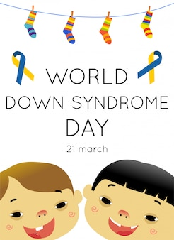 Poster de conceito de dia de síndrome de down do mundo
