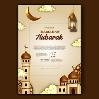 Pôster de convite de ramadan mubarak