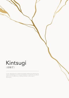 Pôster de crack kintsugi dourado