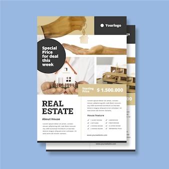 Pôster de design plano imobiliário com foto pronta para imprimir