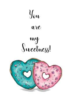 Pôster de donuts em forma de coração com letras