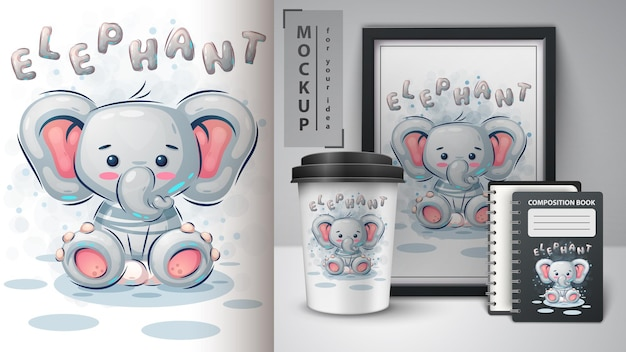 Pôster de elefante fofo e merchandising