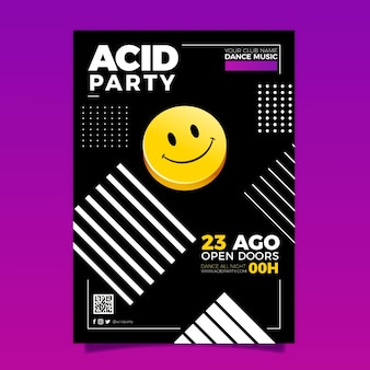 Pôster de emoji ácido realista