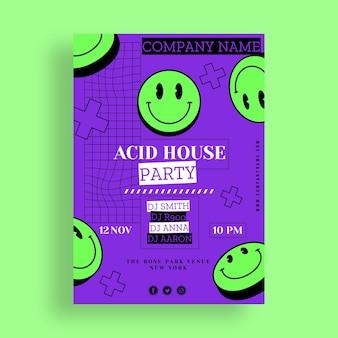 Pôster de emoji de festa ácida de design plano