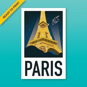 Poster de estilo vintage da torre eiffel à noite com poster de estilo de filme polaroid.