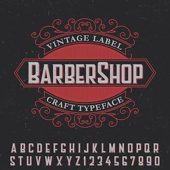 Pôster de etiqueta vintage de barbearia com tipo de letra artesanal em preto