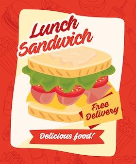 Pôster de fast-food, entrega gratuita, sanduíche delicioso almoço