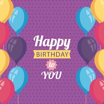 Pôster de feliz aniversário com design de ilustração de decoração de balões de hélio