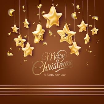 Pôster de feliz natal e feliz ano novo com estrelas de brinquedos de árvore