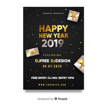 Poster de festa de ano novo de presentes de prata