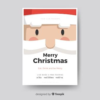Poster de festa de natal modelo de rosto de papai noel