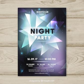 Poster de festa de néon com triângulos coloridos