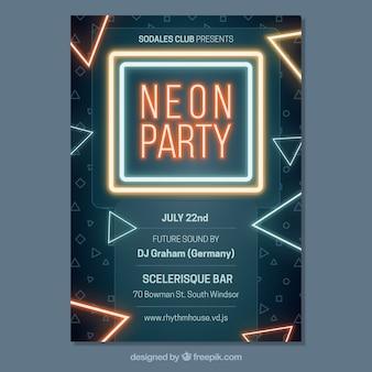 Poster de festa de néon com triângulos