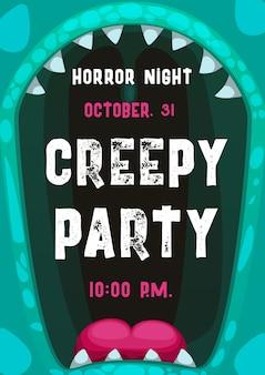 Pôster de festa de terror noturno de halloween com moldura de boca de monstro gritando