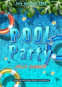 Pôster de festa de verão festa na piscina com anéis infláveis na água