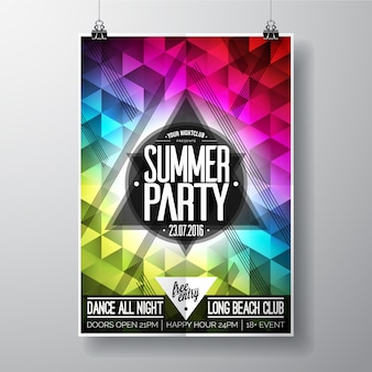 Poster de festa de verão multicolorido