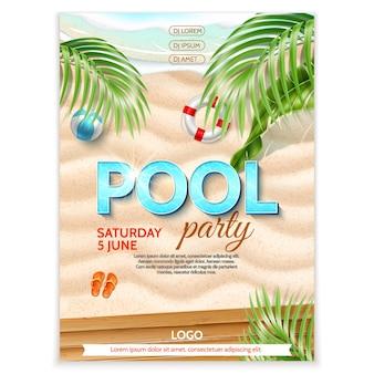 Pôster de festa na piscina areia à beira-mar ondas azuis folhas tropicais bola inflável flip-flops bóia ife
