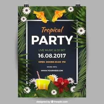Poster de festa tropical com moldura de folhas exóticas