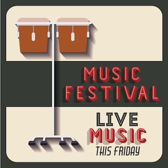 Poster de festival de música retrô isolado ícone do design