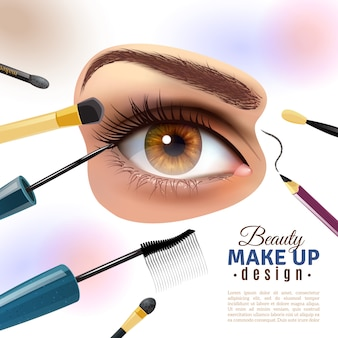 Poster de fundo borrado de maquiagem de olho