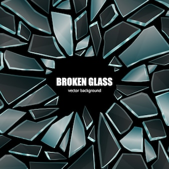 Poster de fundo de vidro preto quebrado