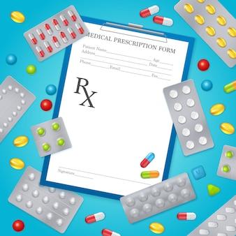 Poster de fundo médico de prescrição de drogas
