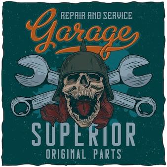 Pôster de garagem com caveira e chaves inglesas