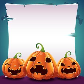 Pôster de halloween com abóboras realistas em fundo azul escuro com texto colocado na folha de papel, pergaminho e morcegos. ilustração vetorial para cartazes, banners, convites, publicidade, folhetos.