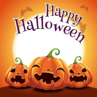 Pôster de halloween com abóboras realistas em fundo laranja com lua cheia brilhante e com morcegos. ilustração vetorial para cartazes, banners, convites, publicidade, folhetos.