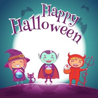 Pôster de halloween com crianças em trajes de bruxa, vampiro e diabo para a festa de feliz dia das bruxas. em fundo azul escuro com lua cheia. para cartazes, banners, folhetos, convites, cartões postais.